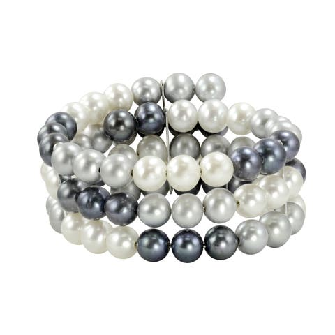 Sterling Silver White, Black and Grey Freshwater Pearl 3-row Cuff Bracelet (8-8.5 mm)