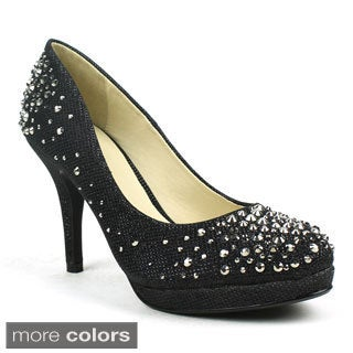 Celeste Women's 'Melissa-02' Netted Glitter Rhinestone Dress Pumps