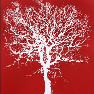 Art in Style 'White Tree on Red' Hand-painted Canvas Wall Art