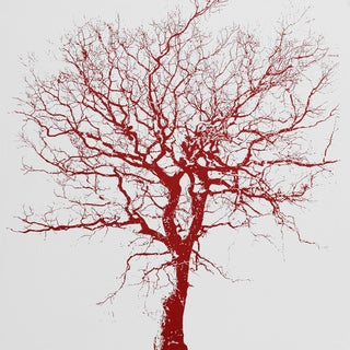 Art in Style 'Red Tree on White' Hand-painted Canvas Wall Art