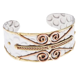 Handmade Stainless Steel Cuff with Abstract Design (India)