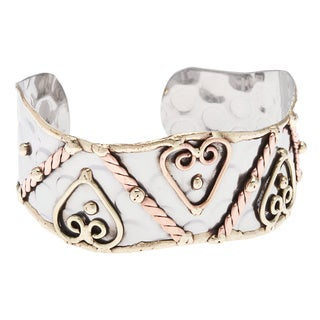Handmade Stainless Steel Cuff with Hearts (India)