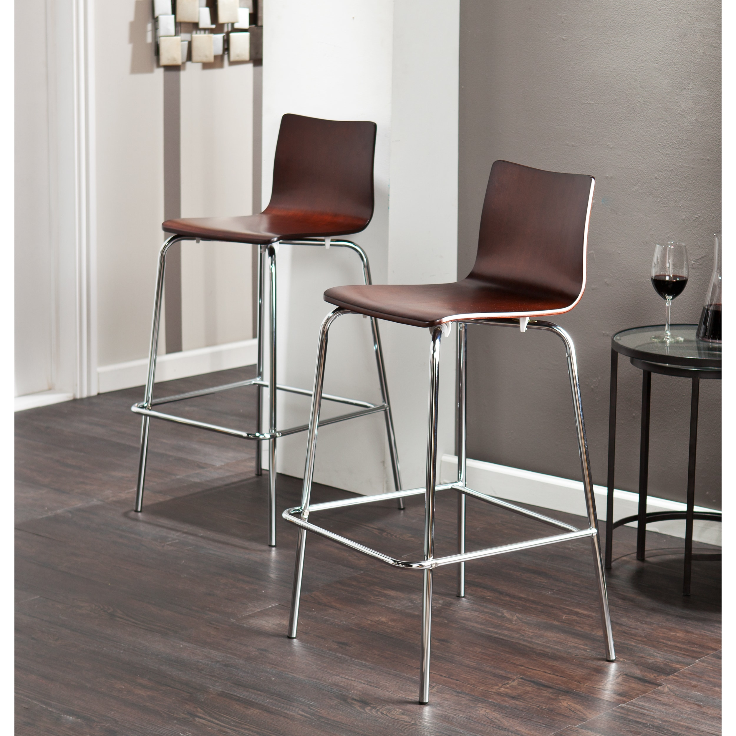 Picture of: Holly Martin Blence Espresso Barstools Set Of 2 Overstock 8903734