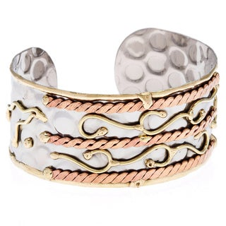 Handmade Stainless Steel Tri-tone Abstract Design Fashion Cuff Bracelet (India)