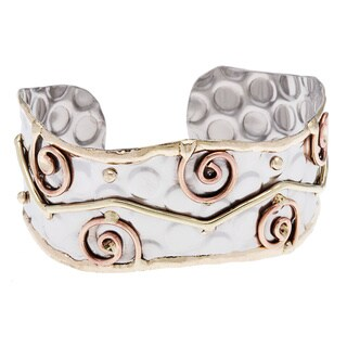 Handmade Stainless Steel Abstract Fashion Cuff Bracelet (India)