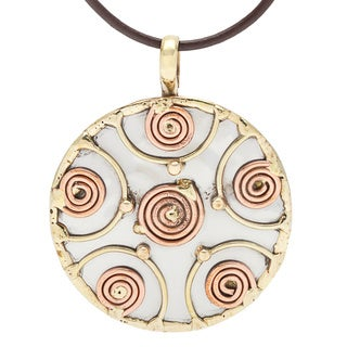 Handmade Stainless Steel Copper Coil Medallion Necklace (India)