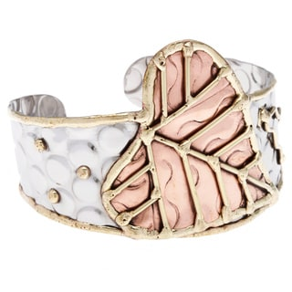 Handmade Stainless Steel Copper Leaf/Heart Cuff Bracelet (India)