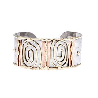 Handmade Stainless Steel Brass Swirls Fashion Cuff Bracelet (India)
