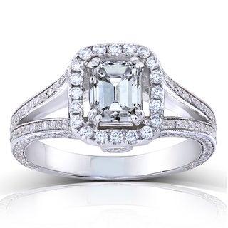Annello by Kobelli 18k White Gold 1 3/4ct TDW Emerald-cut Diamond Halo Split Shank Engagement Ring