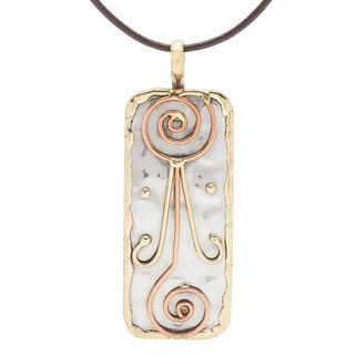 Handmade Stainless Steel with Abstract Swirl Designs Pendant (India)