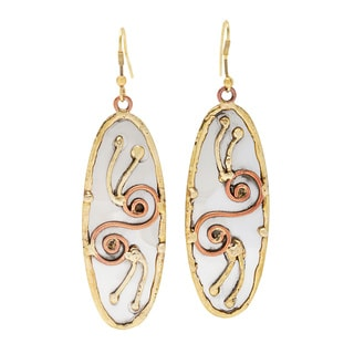 Handmade Stainless Steel with Abstract Swirl Design Earrings (India)
