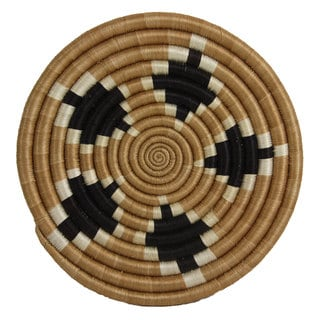 Hand-woven Sweetgrass and Sisal Diamond Trivet (Rwanda)