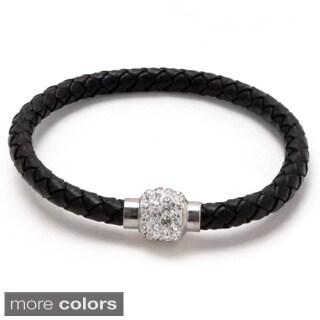 Unisex Braided Leather Magnetic Cuff Bracelet