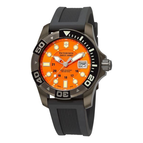 Shop swiss army men 39 s 39 dive master 39 orange dial black - Orange dive watch ...