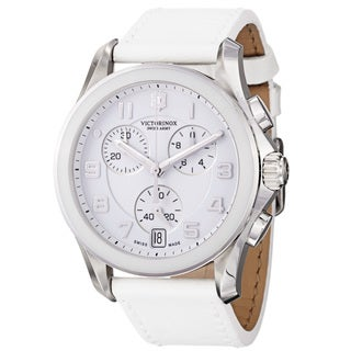 Swiss Army Men's 241500 'Chrono Classic' White Dial White Leather Strap Watch