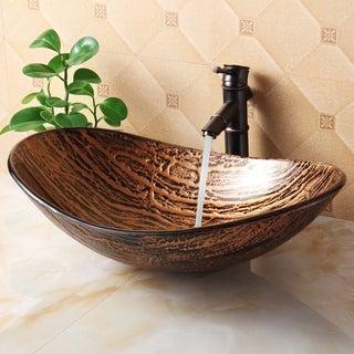 elite tempered glass hot melt multicolor pattern vessel sink