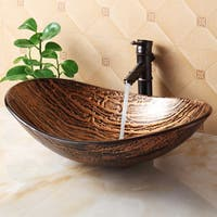 Elite 1212 Tempered Glass Hot Melt Multicolor Pattern Vessel Sink