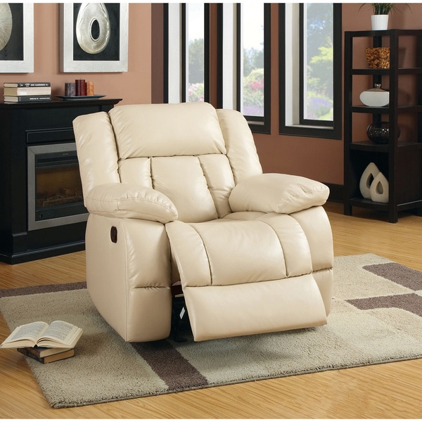 furniture of america barbadalo bonded leather match glider recliner