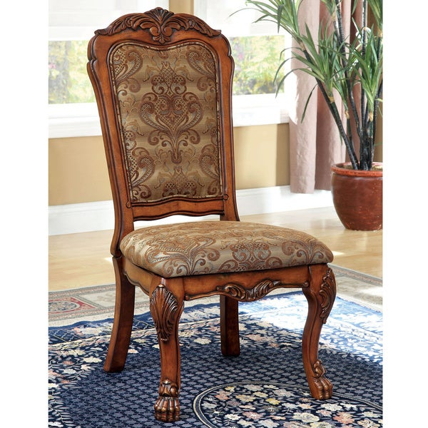 Furniture of America Elantia Antique Oak Side Dining Chairs (Set of 2)
