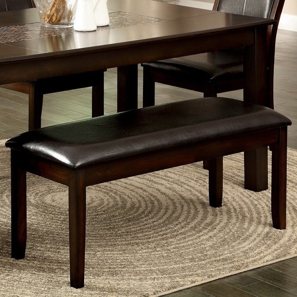 Furniture of America Brym Contemporary Cherry Faux Leather Dining Bench