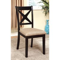 "Furniture of America Berthetta Black Dining Chairs (Set of 2) - 18 1/2""W X 22""D X 39 1/2""H (Seat Ht: 19 1/2"", Seat"