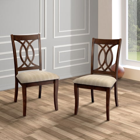"Furniture of America Cerille Elegant Brown Cherry Dining Chairs (Set of 2) - 20""W X 24""D X 38 1/2""H (Seat Ht: 18 1/2"", Seat Dp:"