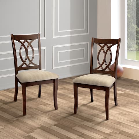 Cerille Rustic Brown Cherry Dining Chairs (Set of 2) by FOA