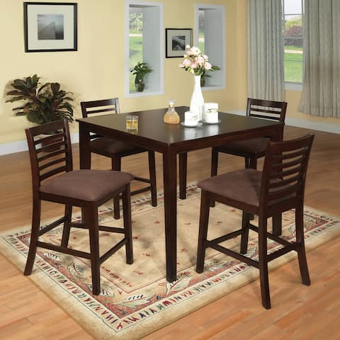 Furniture of America Eazton Transitional 5-piece Microfiber Counter Height Dining Set