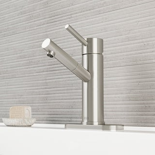 VIGO Noma Bathroom Single Hole Faucet in PVD Brushed Nickel with Deck Plate