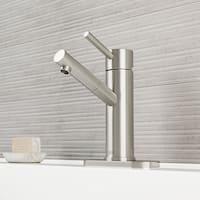 VIGO Noma Brushed Nickel Single Hole Bathroom Faucet with Deck Plate