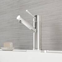 VIGO Noma Chrome Single Hole Bathroom Faucet with Deck Plate