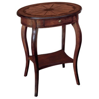 Handmade Oval End Table with Wood Inlay (China)
