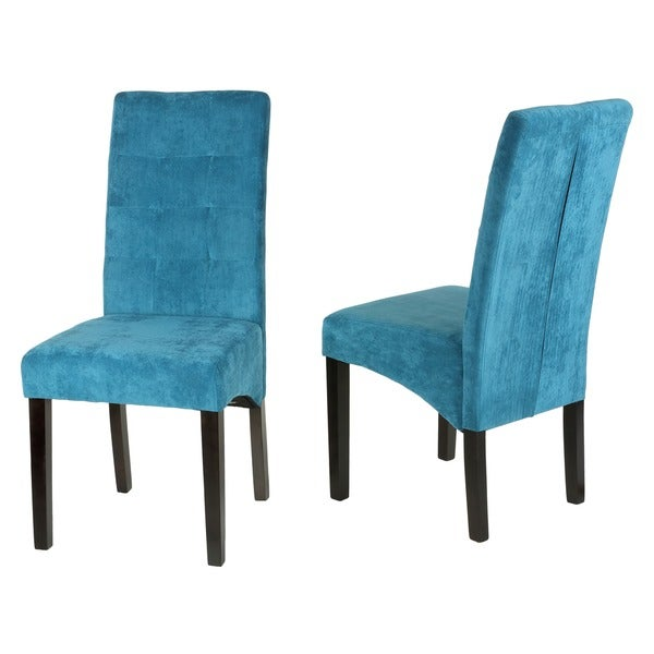Cortesi Home Monty Blue Microfiber Dining Chairs Set of