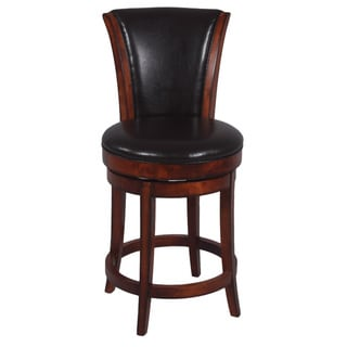 Somette Wenge Brown 26-inch Solid Birch Bonded Leather Swivel Counter Stool