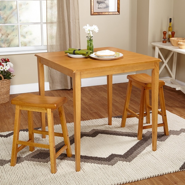 Simple living belfast 3 piece saddle dining set free for Dining room tables belfast