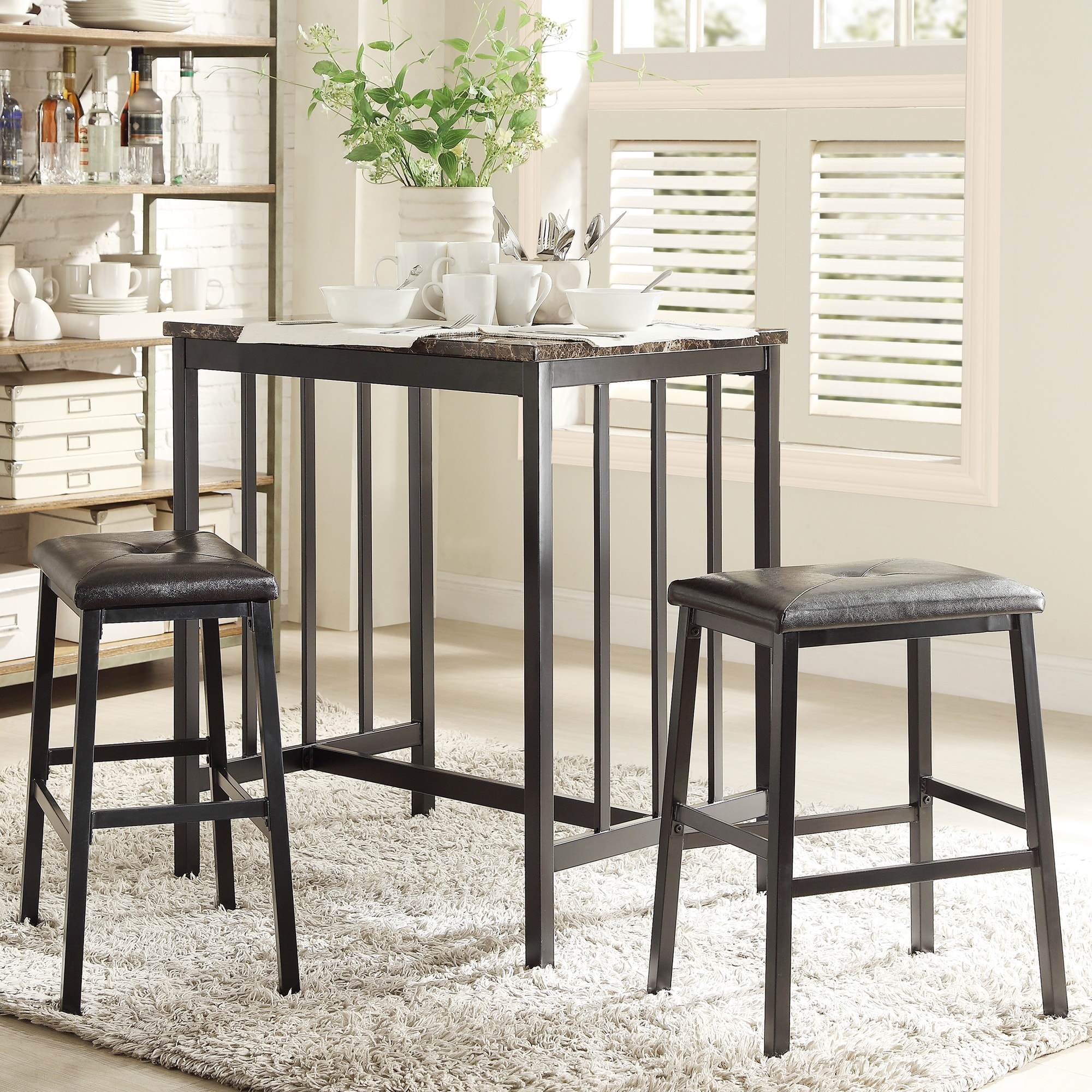 Darcy Faux Marble Top Black Metal 3-piece Counter Height ...