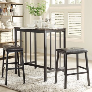 Darcy Faux Marble Top Black Metal 3-piece Counter Height Dining Set by iNSPIRE Q Bold