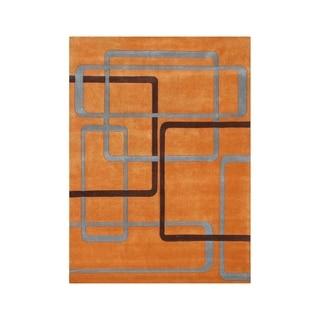 Handmade Geometric Orange Wool-blend Area Rug (9' x 12')