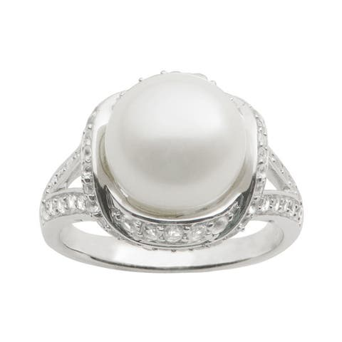 Pearls For You Sterling Silver White Freshwater Button Pearl and White Topaz Ring (10-11 mm)