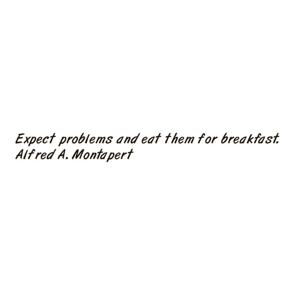 Motivational Quote 'Expect Problems...' Black Vinyl Wall Decal Sticker
