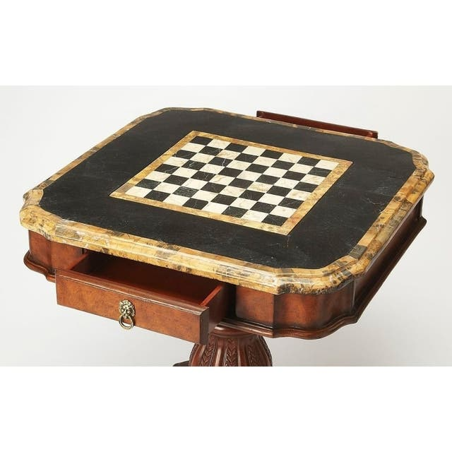 Vintage Wood and Stone Game Table