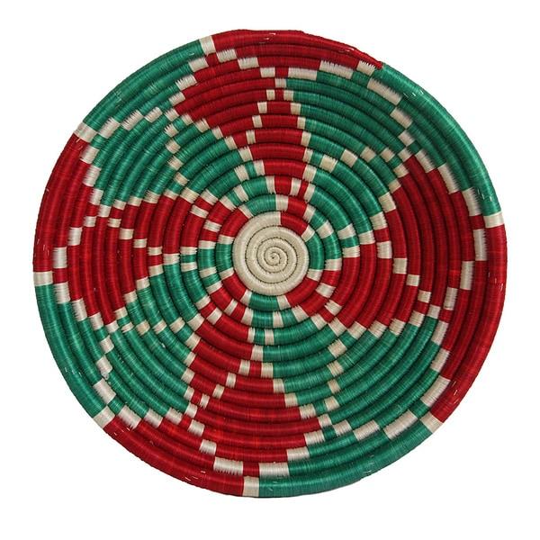 Hand-woven Red/ Green Holiday Delight Basket (Rwanda)