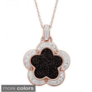 La Preciosa Sterling Silver Sparkling Crystal Flower Necklace