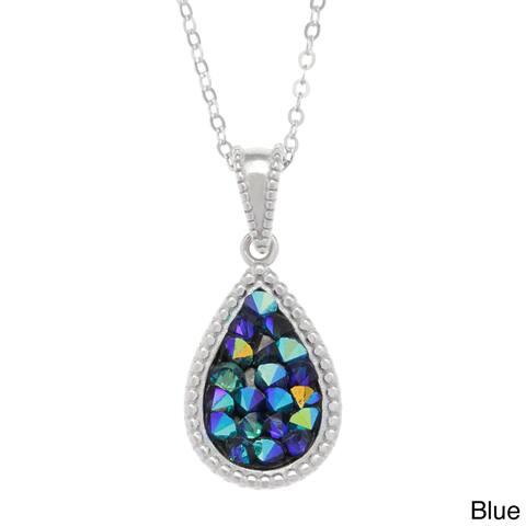 La Preciosa Sterling Silver Filled Crystal Teardrop Necklace