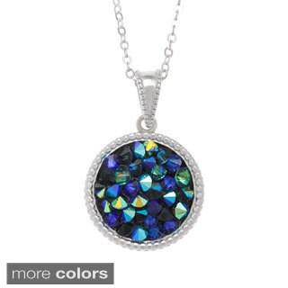 La Preciosa Sterling Silver Crystal Circle Pendant Necklace