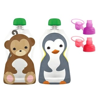 Squooshi Reusable Food Pouches and Sip'n Caps (Pack of 2)