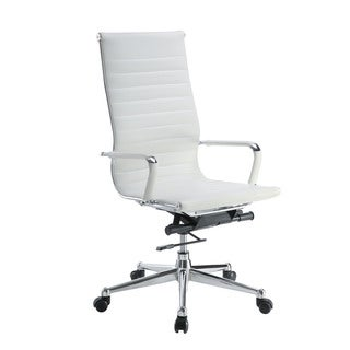 Pantera White Leather and Chrome High Back Desk Chair