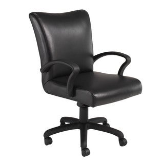 Black Leather Contemporary Mid Back Desk Chair