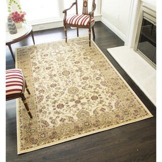 Florence 9213 Black/ Cream Traditional Floral Area Rug (5'3 x 7'10)