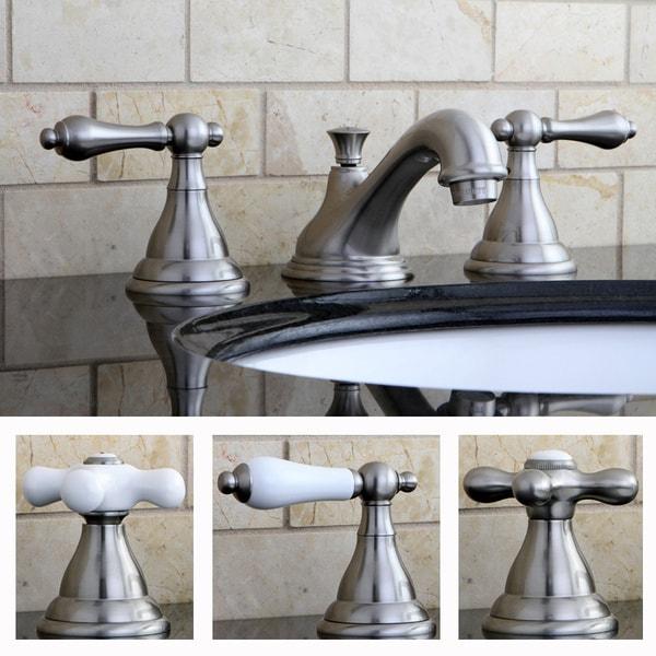 Shop contemporary pks5568al satin nickel widespread bathroom faucet free shipping today for Satin nickel widespread bathroom faucet